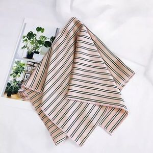 Striped silky satin-like scarf